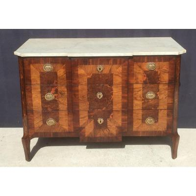 Inlaid Commode In Marquetry And Marble Top. Italy, Late 18th Century.