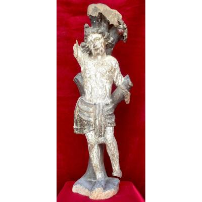 Saint Sebastian, Polychrome Wooden Statue (oak). France Late 15th-early 16th Century.