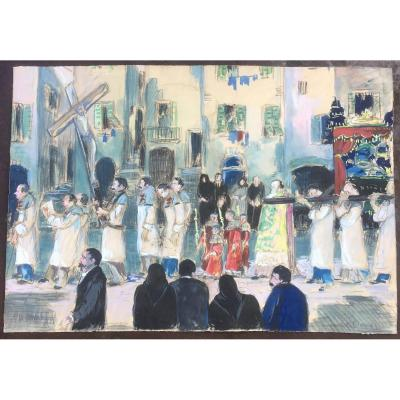 Gouache On Paper. Procession Scene In Bonifacio, Corsica, Early 20th Century.