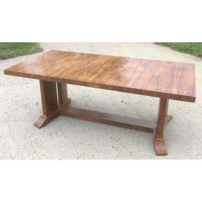 Large Veneer Table (rosewood), Varnish. Design From The 1930s - 1940s.