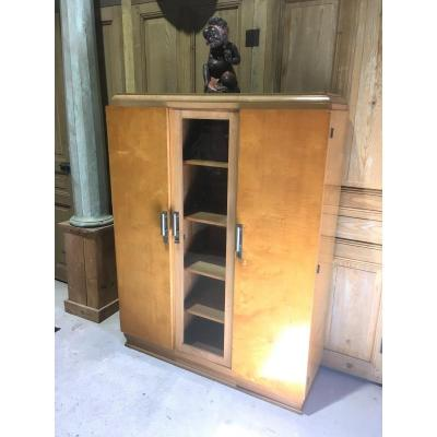 Bookcase With Three Doors In Clear Veneer Wood. Design 1930s - 1950s.