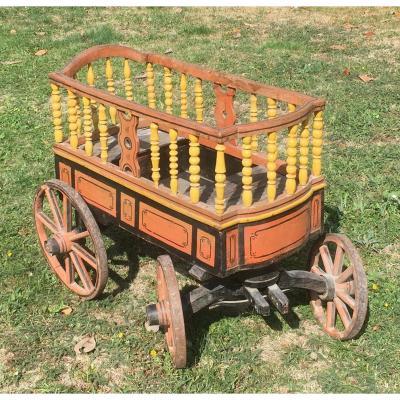Polychrome Wood Children's Park Cart. France Mid 19th Century.