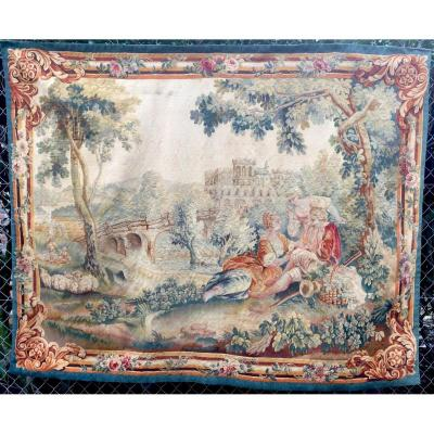 Tapestry De La Manufacture d'Aubusson, Gallant Country Scene From 18th -  Early 19th Century.