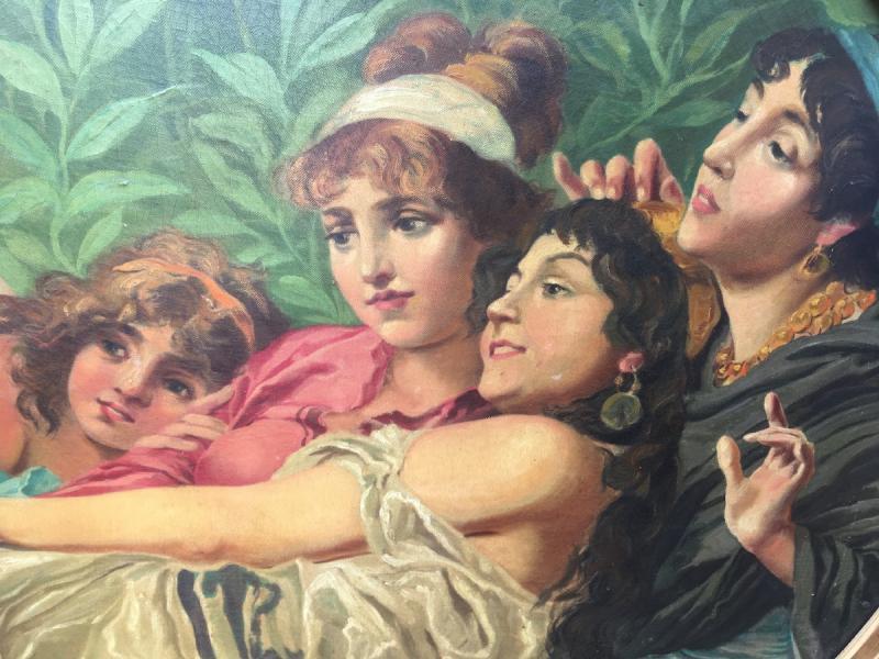 Grande peinture ovale sur toile dans cadre stuc doré. France fin XIXe début XXe.-photo-4