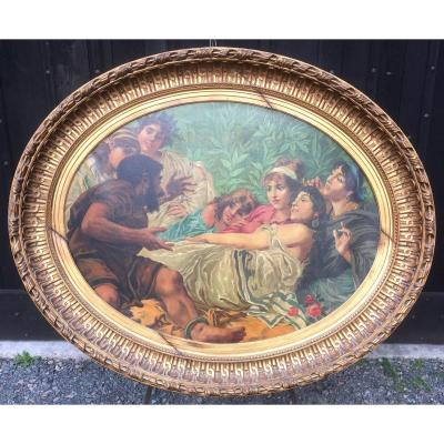 Large Oval Painting On Canvas In Gilded Frame. Late 19th Early 20th.