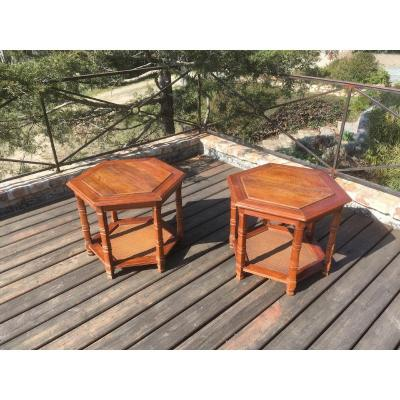 Pair Of American Low Tables In Wood And Rattan. Usa Early 20th Century.