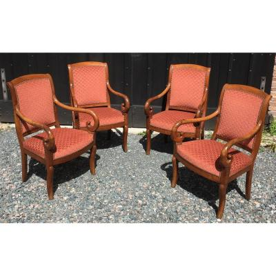 Set Of Four Armchairs In Walnut Restoration. France Early 19th Century.