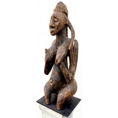 Ancienne Statue De Fécondité En Bois Dur érodé. Bambara Bamana, Mali. XIXe Siècle.ou Antérieur.