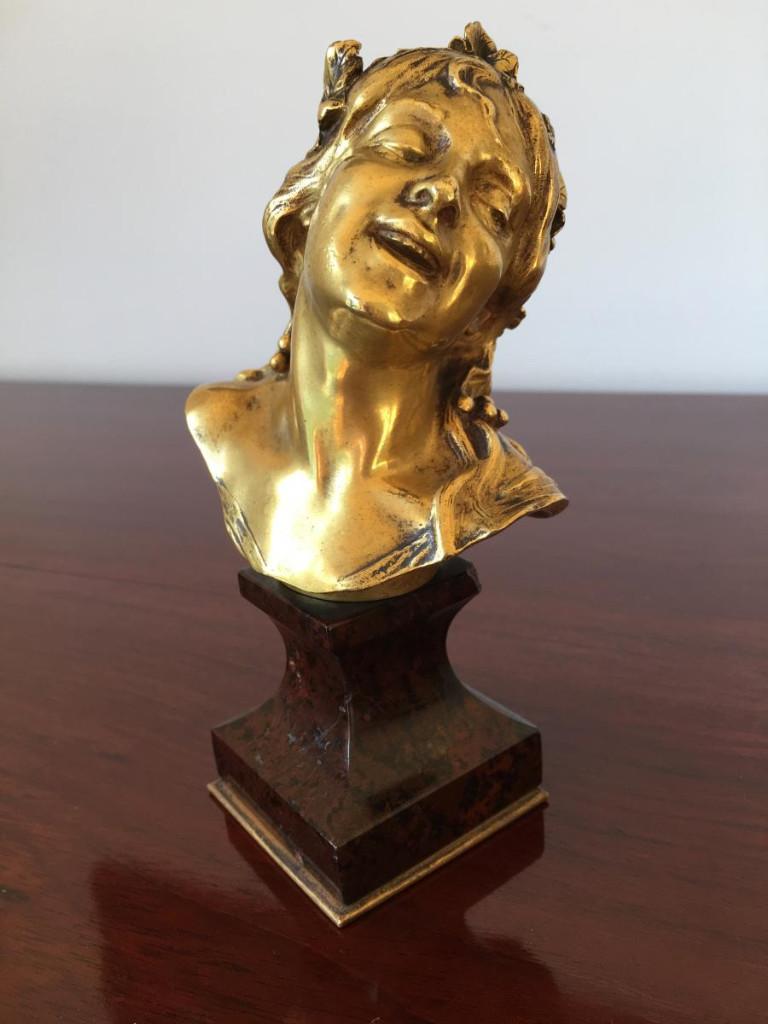 """Bronze Doré """"buste De Femme"""" De Antonin Larroux XIX ème"""