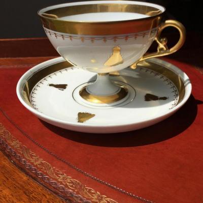 SÈvres: Grande Tasse Et Sa Soucoupe En Fine Porcelaine,Empire Début XIX ème