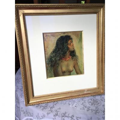 Jeune Mauresque Le Buste Dévêtu Par Abascal, Peintre Orientaliste