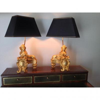 Paire De Lampes Sphinges