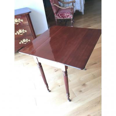 Table A Volets, Acajou Début XIXème Style Louis XVIII, Verni Tampon