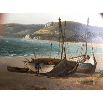 Cote Normande,huile Sur cuivre fin  XVIII ème