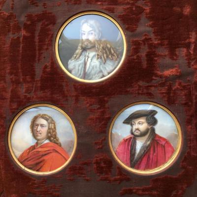 Trois mimiatures sur ivoire de peintres célèbres par Finot année 1823.E FR