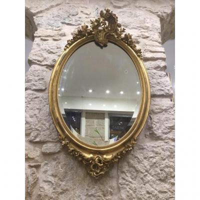 Miroir Doré à La Feuille