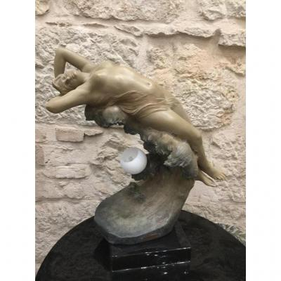 "Sculpture Terracotta Art Nouveau (illuminating). Titled ""the Wave"" Signed Rossi"