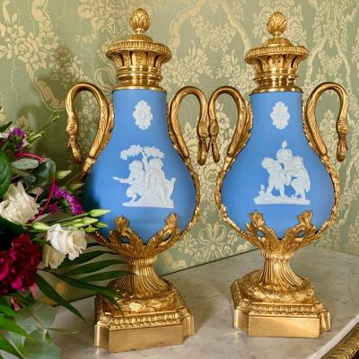 Pair Of Baluster Vases Or Biscuit Covered Pots - XIXth Century