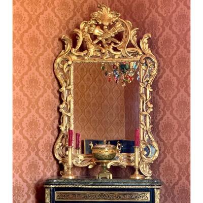 Miroir à Parecloses Bois Doré Louis XV - XIXe Siècle