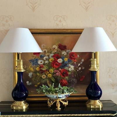 Paire De Lampes En Porcelaine Gros Bleu XIXème Siècle