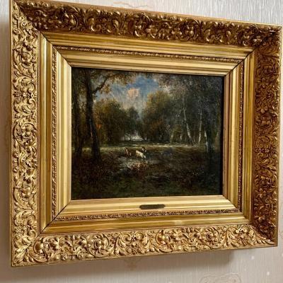 19th Century Oil On Canvas Table