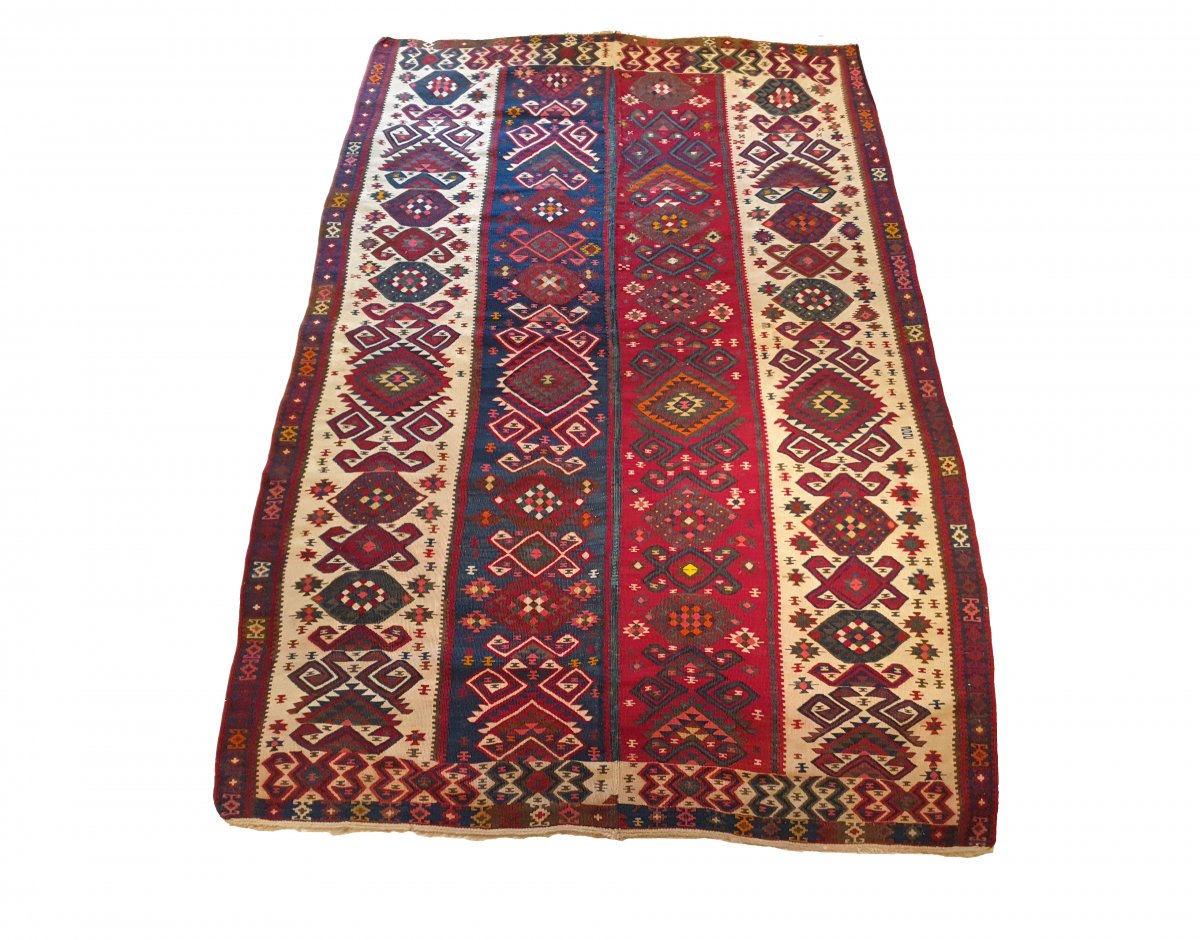 846 - Kilim Exceptional «van» From Turkey Wool  20th Century 104.33 In. X 70.07 In.
