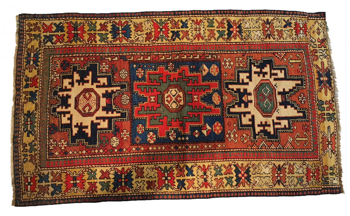 Russian Leshi Rug, Wool 19th Century 150 Cm X 90 Cm
