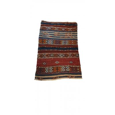 694 - Exceptional Kilim Style Soumak From Turkey In Wool 19th Century 62.99 In. X 37.40 In.