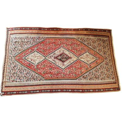 664 - Kilim Late 19th Century With Beautiful Fine Motifs Central Medallion