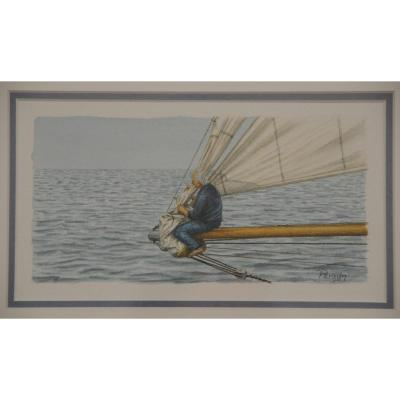 Sailor In Sailboat Prow