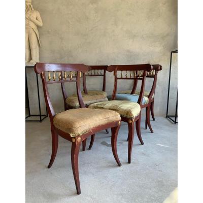 6 Chaises Italiennes Circa 1800
