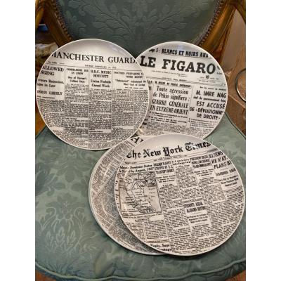 Fornasetti 5 Plates Giornali Circa 1960