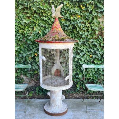 Cage à Oiseaux En Ciment Circa 1950