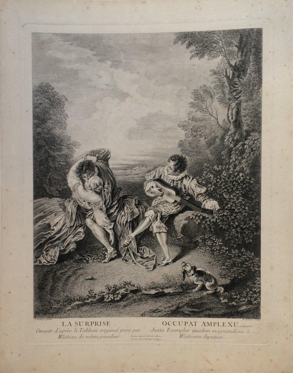 Audran BenoÎt II d'Apres  Watteau : La Surprise