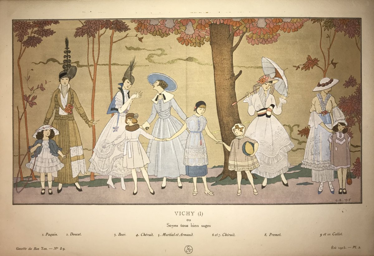 Pair Of Fashion Stencils By Georges Barbier-photo-2