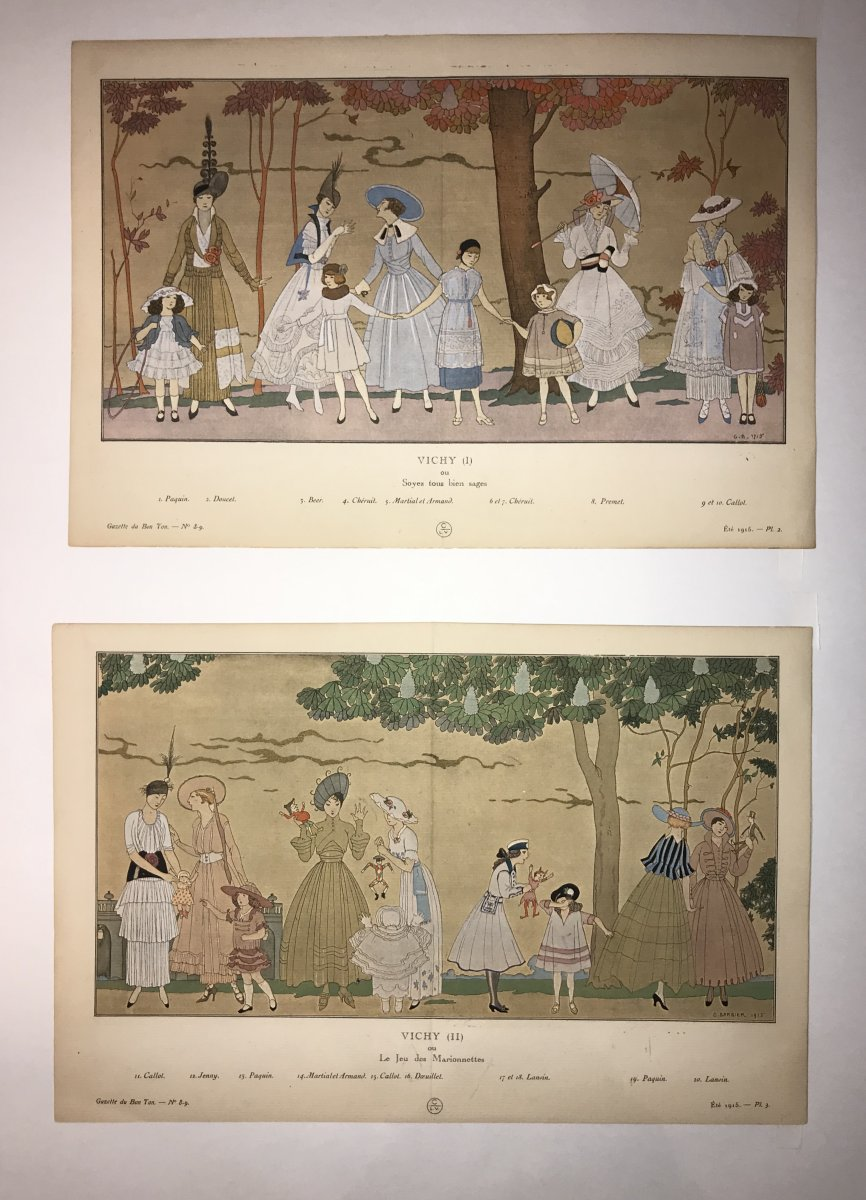 Pair Of Fashion Stencils By Georges Barbier