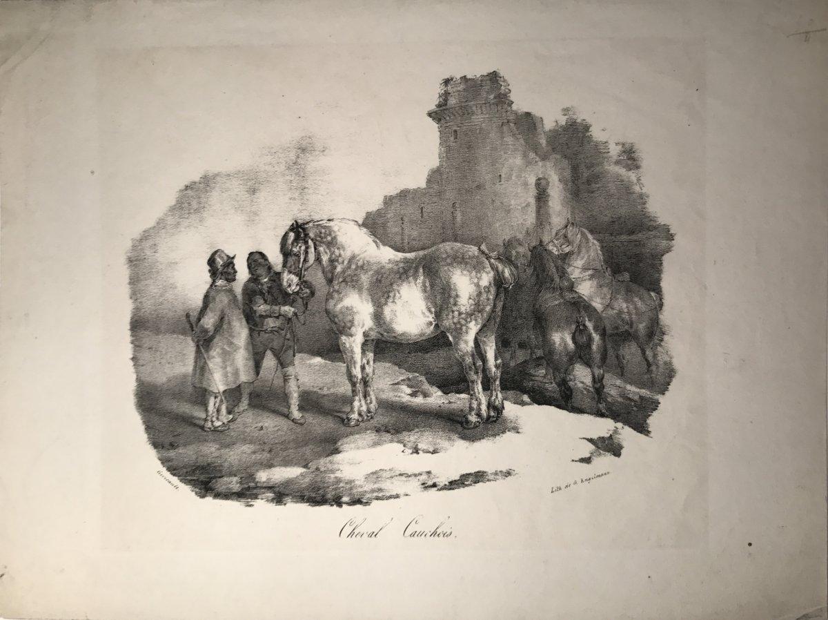 Lithographie De Theodore Gericault : Cheval Cauchois