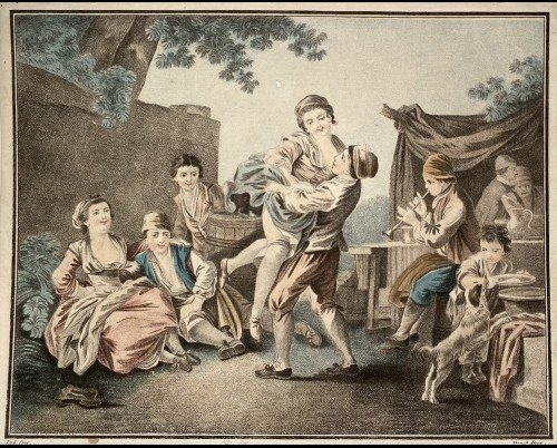 Pair Of 18th Century Color Prints By Bonnet: The Sump And The Balance-photo-2