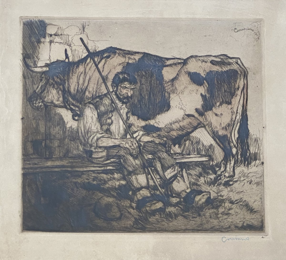 Framed Etching By Armand Coussens: Le Vacher