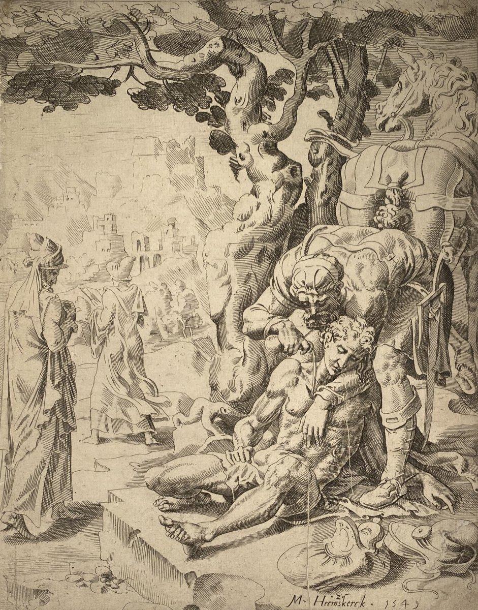 Estampe Ancienne De  Dirck Volckertsz Coornhert De La Suite De La Parabole Du Bon Samaritain