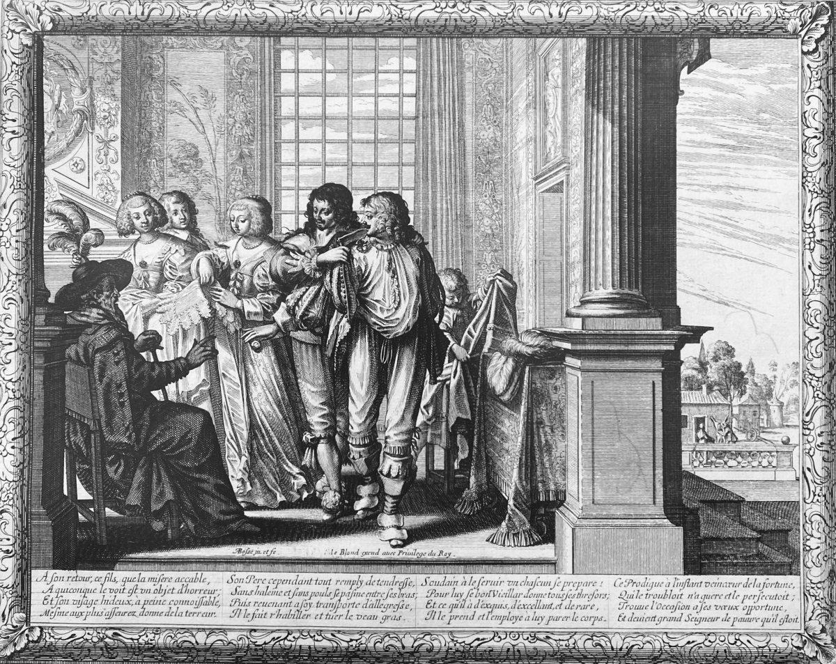 Gravures XVIIè : Histoire De l'Enfant Prodigue Suite Complète de Six estampes Par Abraham Bosse-photo-1