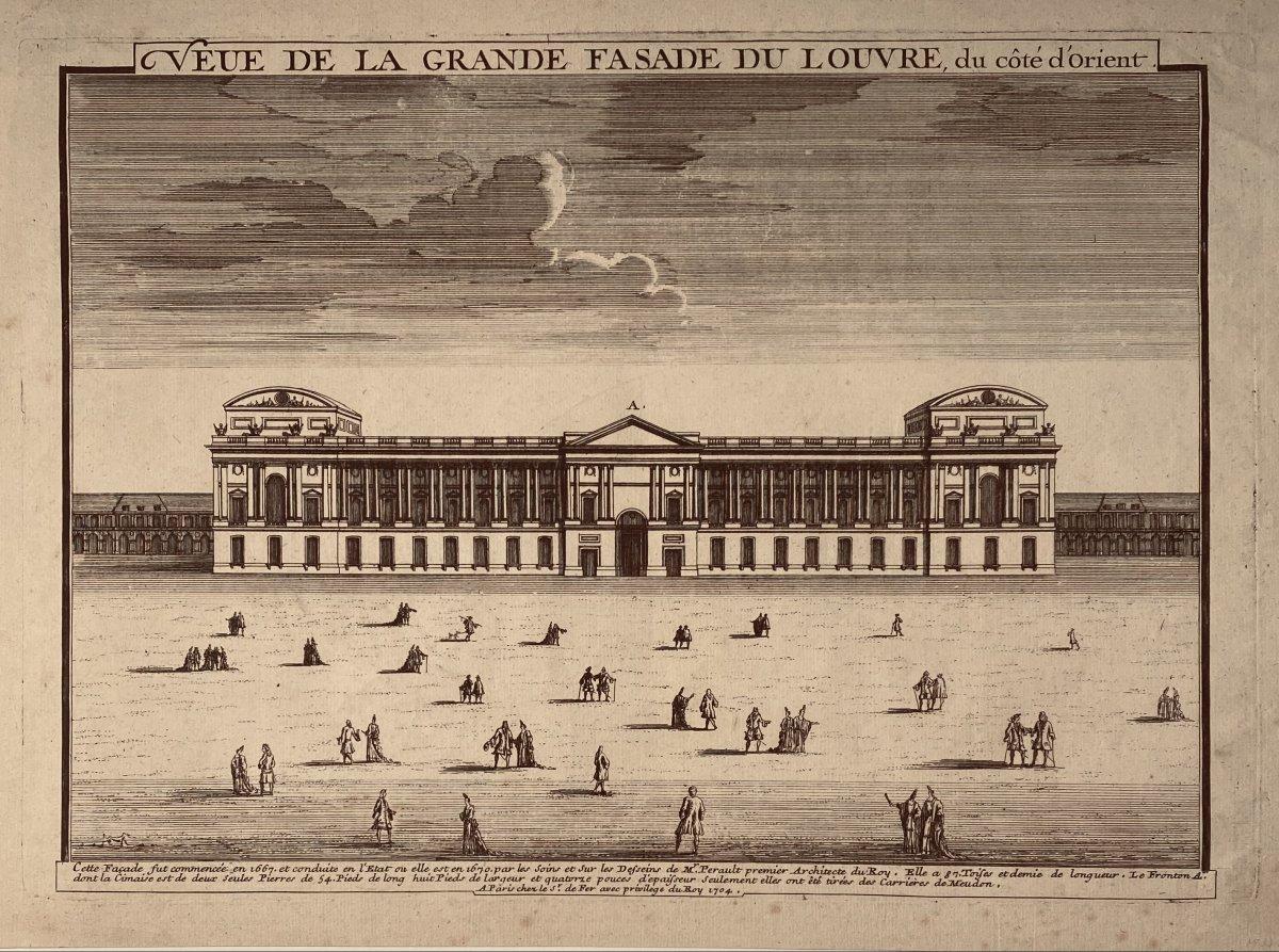 Early 18th Century Engraving Edited By Nicolas De Fer: Veue De La Grande Fasade Du Louvre (sic)