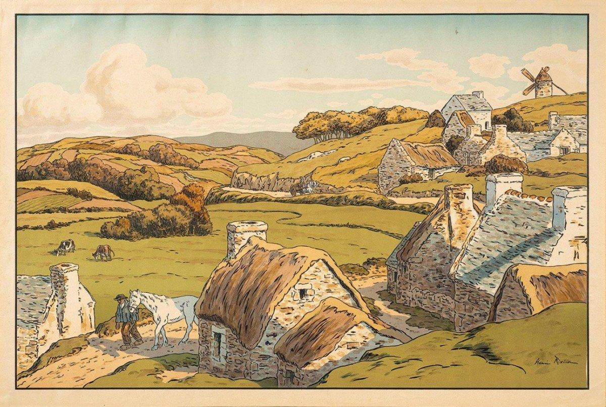 Lithographie d'Henri Rivière : Le Hameau