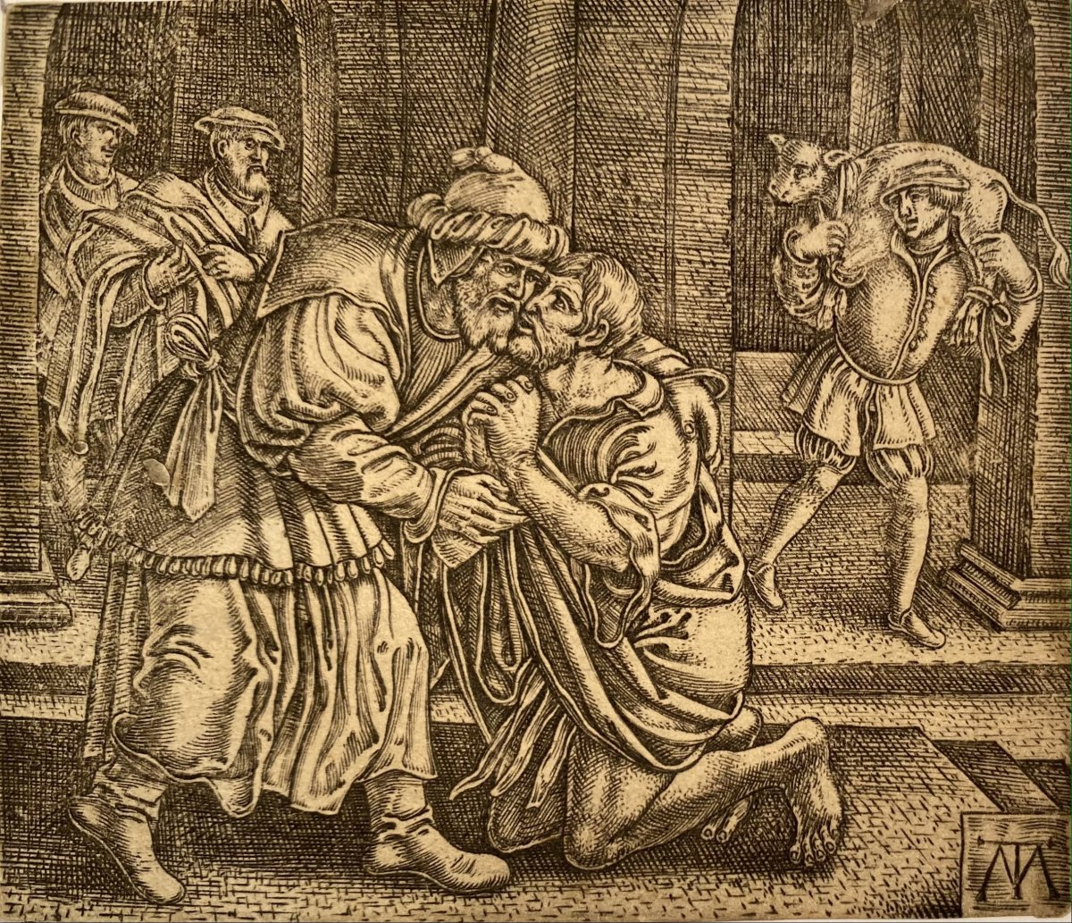 Old Print, The Prodigal Son: The Return By The Monogramist Mt