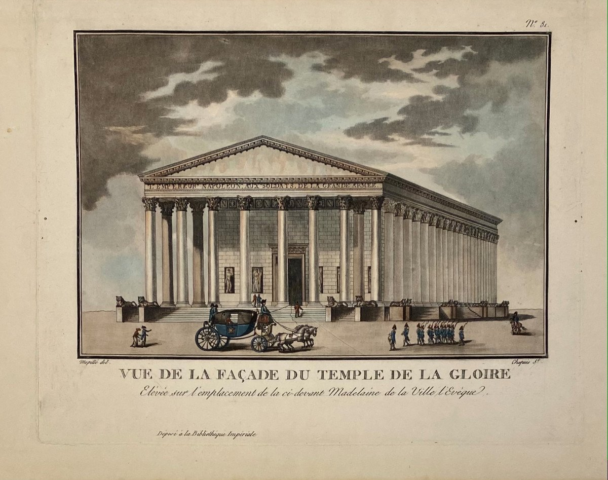 Old Engraving View Of The Facade Of The Temple Of Glory Or The Magdalen