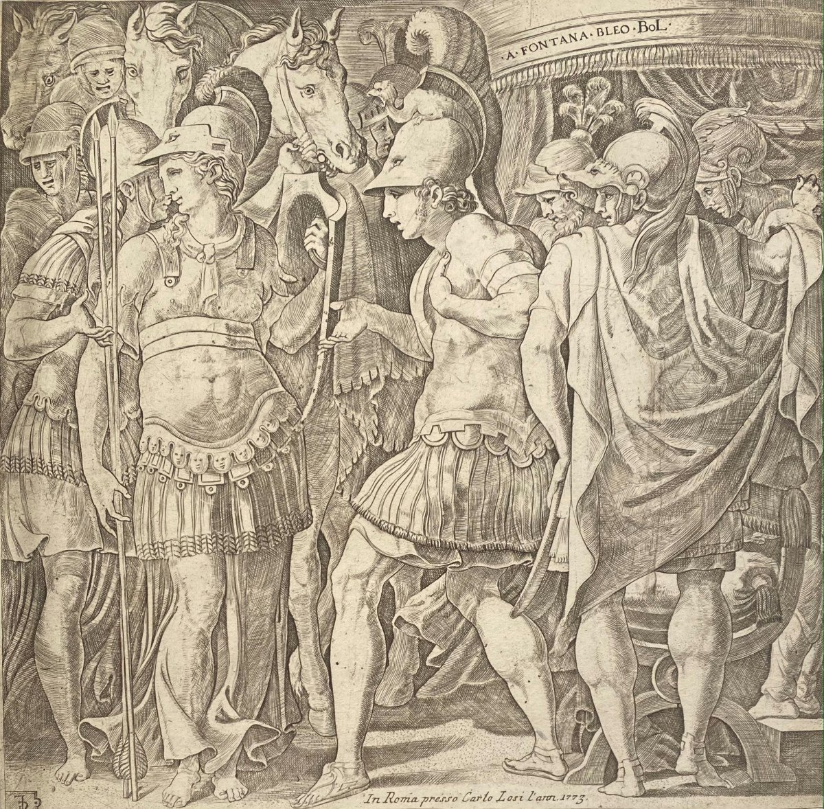 Antique Engraving: Alexander Receiving The Queen Of The Amazons, Thalestris
