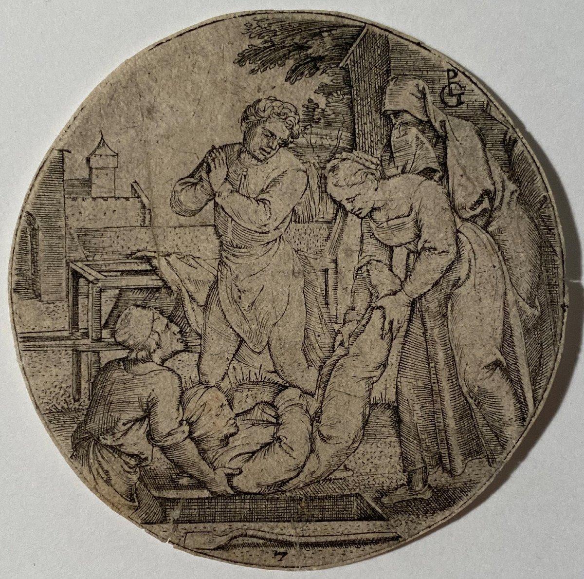Estampe XVIè De Pencz : Ensevelir Les Morts