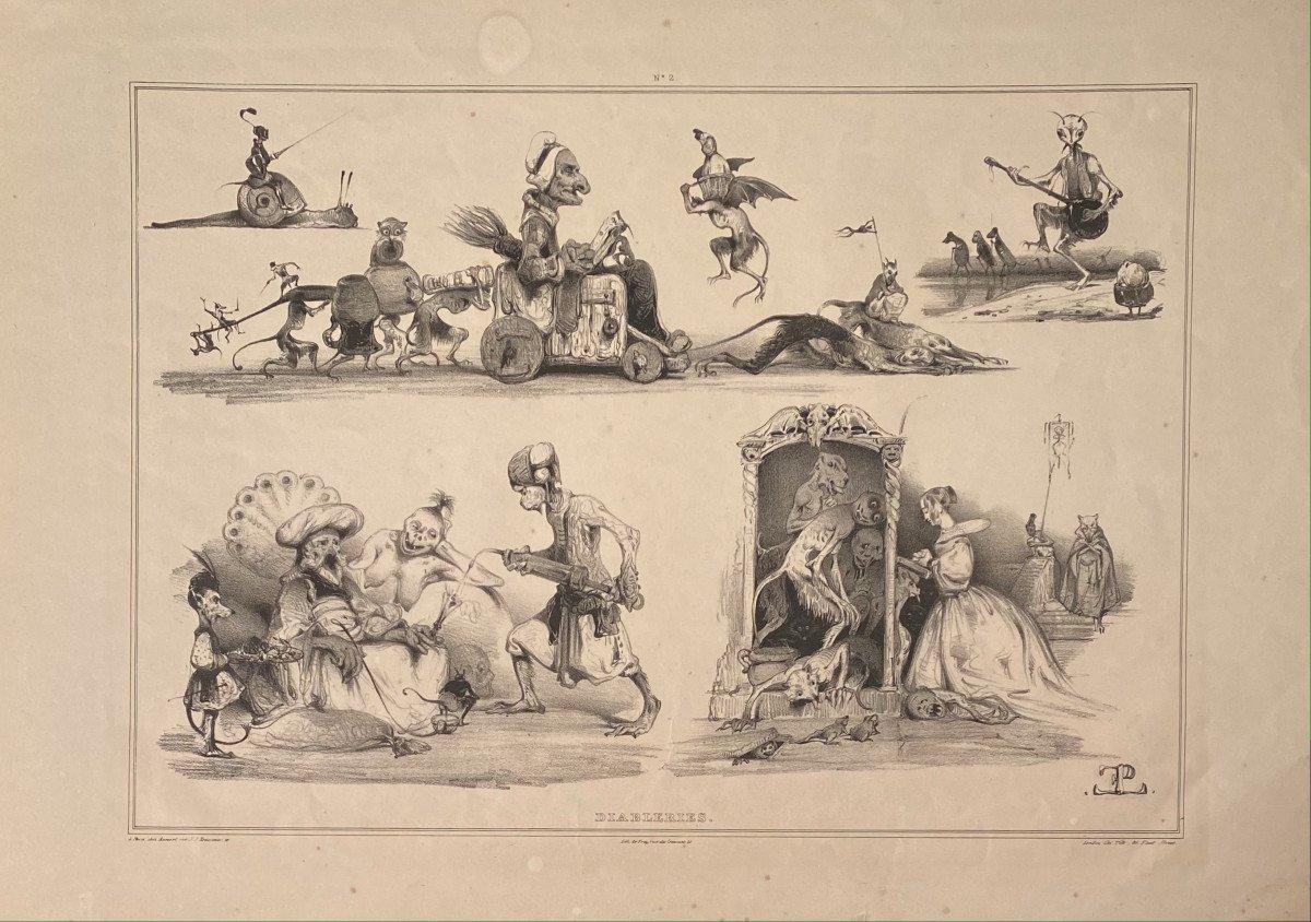 Lithograph By Eugène Le Poitevin: Diableries N ° 2