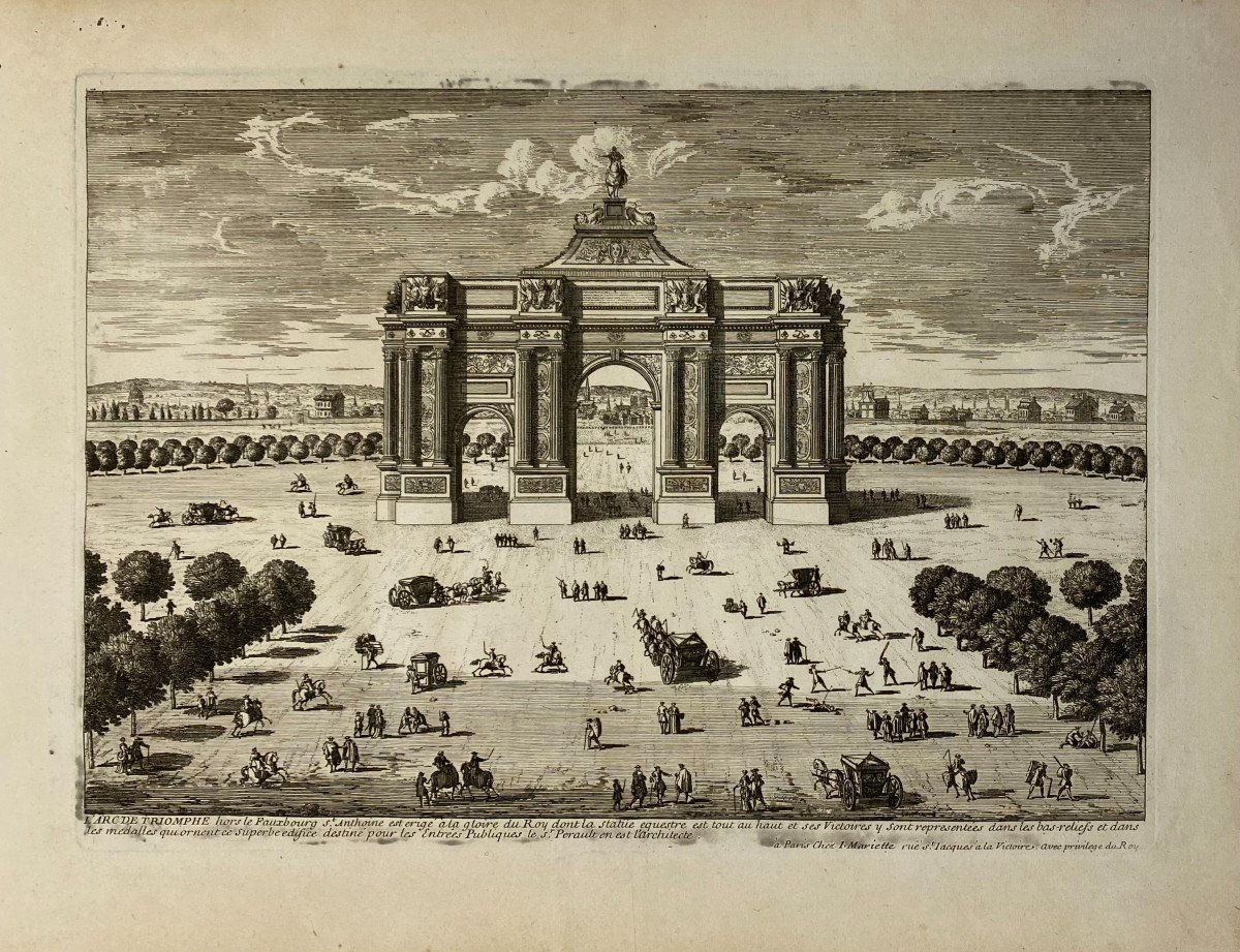 XVIIth Print By Perelle: Arc De Triomphe Outside The Fauxbourg Saint Antoine