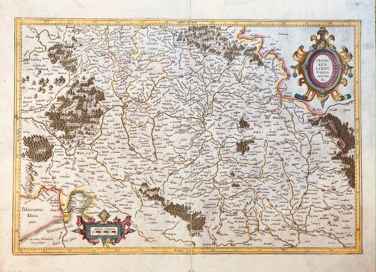 17th Century Card From Mercator: Franckenlandt. Francia Orientalis.